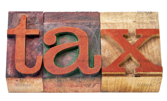 tax word  in wood type