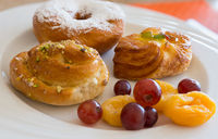 Danish pastry and fruits