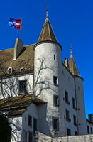Nyon Castle, Chateau de Nyon, with the town flag, Nyon, Vaud, Switzerland