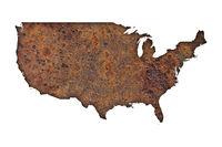 Karte der USA auf rostigem Metall - Map of the USA on rusty metal