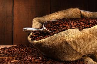Coffee beans in burlap sack