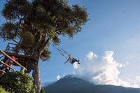 Banos, Ecuador - November 22, 2017: The Swing At The End Of The World Located At Casa Del Arbol, The Tree House In Banos De Aqua Santa, Ecuador, South America