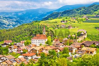 Idyllic alpine village of Gudon architecture and landscape view