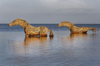 Art at Sylt, Horses made by straw, Schleswig-Holstein, Germany, Europe