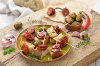Spanish apptizers with chorizo sausage