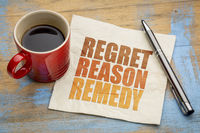 regret, reason, remedy word abstract