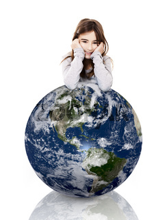 Girl over the planet earth