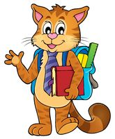 School cat theme image 1 - picture illustration.