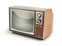 Vintage TV set isolated on white background. Communication, media and television concept.