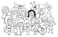 kid girl characters group cartoon color book