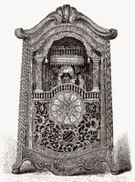 An ancient clock with a music box, 18th century