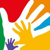 Bunte Hände einer Familie als Hintergrund