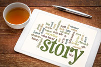 story and storytelling word cloud on tablet