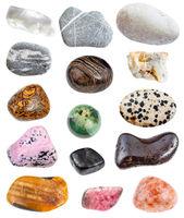 various stones (greywacke, rhinestone, etc)