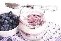 Blueberry curd cheese in a glass with fresh blueberries