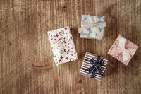 Top view of various gift boxes