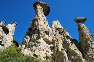 Nature phenomenon and nature miracle Stone Mushrooms rocks in Altai mountains near river Chulyshman