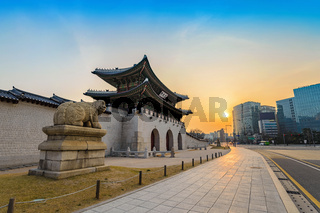 Gwanghwamun Gate when sunrise, Seoul, South Korea