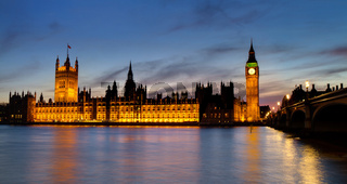 Houses of Parliament at  the blue hour