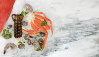 Fresh seafood on marble table background