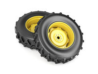 Two tractor wheels