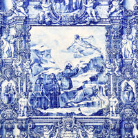 Tilework azulejo on outer wall of church in Porto