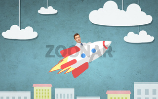 businessman flying on rocket above cartoon city