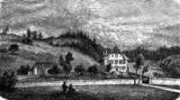 The Presbytery of Jeremias Gotthelf in Lutzelfluh, vintage engraving.