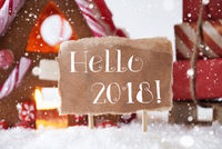 Gingerbread House With Sled, Snowflakes, Text Hello 2018