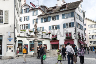 pedestrian street in aldstadt old town of zurich city switzerland