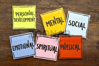 personal development concept on sticky notes