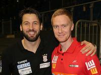 handball player Bennet Wiegert (SC Magdeburg) and Christian Schöne (Frisch auf Göppingen)
