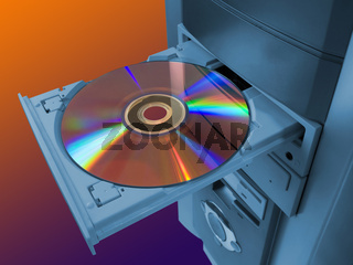 Spectrum (rainbow) on disk in tray