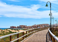 Wooden boardwalk of La Mata. Costa Blanca, Province of Alicante. Spain