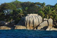 Famous granite rocks at Coco Island Seychelles