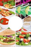 Sammlung Collage Essen und trinken Karte Speisekarte Gerichte Restaurant Hochformat