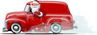 Cartoon retro Christmas van