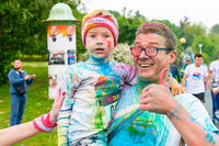 Poznan, Poland - May 20, 2017: Happy people participating in the Color Run