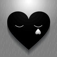 Black Heart. Valentines Lovers card. Heart paper stye.