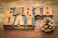 Earth Day sign in letterpress wood type