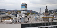 roof with Sparkassen tower in the city, Wuppertal, North Rhine-Westphalia, Germany, Europe