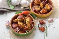 Spanish Pinchos with pork fillet