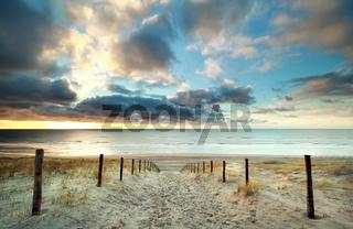 sunset over North sea coast