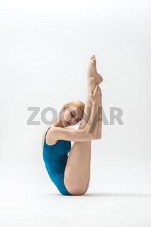 Blonde ballerina in studio