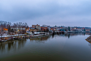 city of manistee michigan early morning in psring
