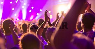 Ein Konzert, Menschen sind fröhlich, feiern und haben Spaß an der tollen Musik, sie klatschen Beifal