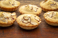 French almond cookies on rustic wood