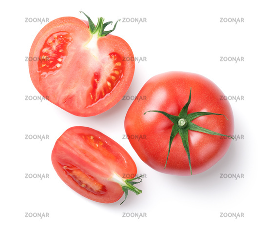 Pink Tomatoes Isolated on White Background
