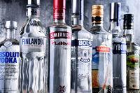 Bottles of several global brands of vodka