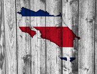 Karte und Fahne von Costa Rica auf verwittertem Holz - Map and flag of Costa Rica on weathered wood